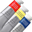 Professional Watercolor paints: Winsor Red, Winsor Yellow, and Prussian Blue.